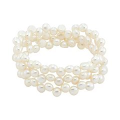 Freshwater Cultured Pearl Stainless Steel Stretch Bracelet