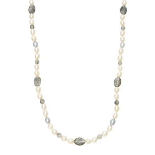 Dyed Freshwater Cultured Pearl & Quartz Sterling Silver Necklace