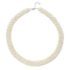 Freshwater Cultured Pearl Sterling Silver Multistrand Necklace