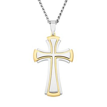 Stainless Steel & Yellow Ion-Plated Stainless Steel Cross Pendant Necklace - Men