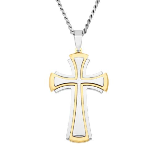Stainless Steel and Yellow Ion-Plated Stainless Steel Cross Pendant Necklace - Men