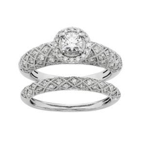 IGL Certified Diamond Art Deco Halo Engagement Ring Set in 14k White Gold (1 Carat T.W.)