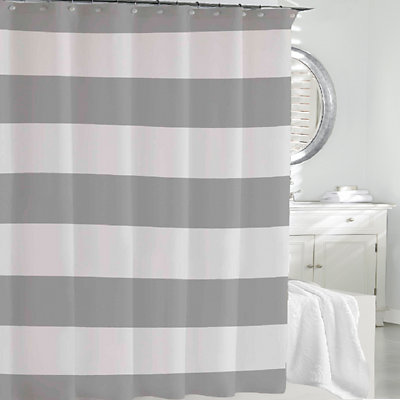 Cassadecor Stripe Fabric Shower Curtain