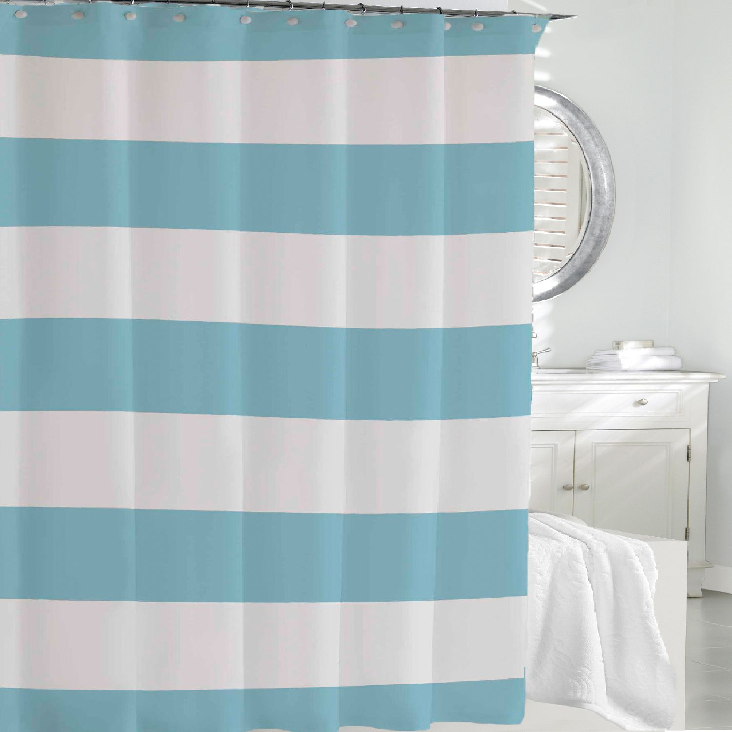kassatex hampton stripe fabric shower curtain - Kassatex