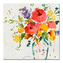 'Vase with Bright Floral' Canvas Wall Art