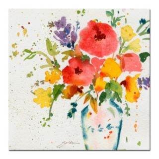"""Vase with Bright Floral"" Canvas Wall Art"