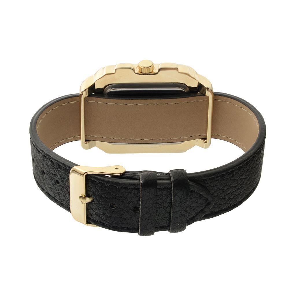 Journee Collection Women's Interchangeable Leather Watch Set