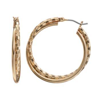 Textured Double Hoop Earrings