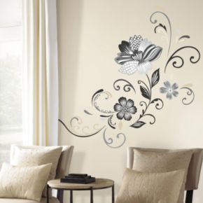 Flower Scroll Peel and Stick Giant Wall Decal Set