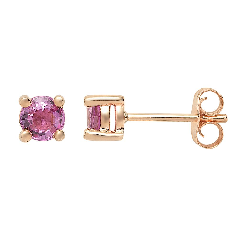 The Regal Collection Genuine Pink Sapphire 14k Rose Gold Stud Earrings