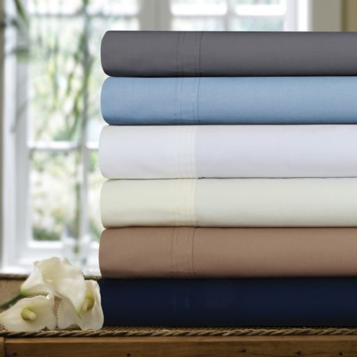 Solid 300-Thread Count Egyptian Cotton Percale Deep-Pocket Sheets