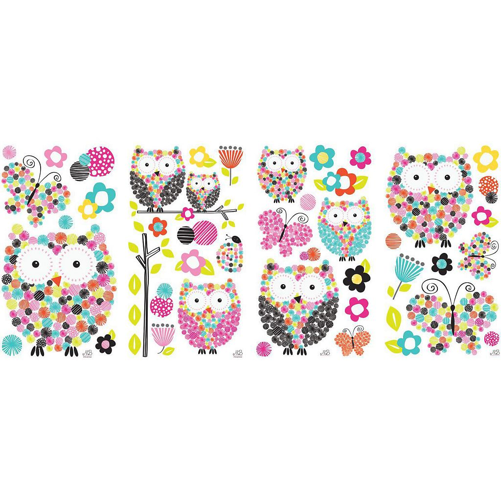 Prisma Owls and Butterflies Peel and Stick Wall Decal Set