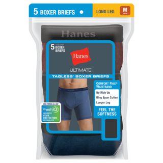Men's Hanes Ultimate 5-pack Exposed Waistband Longer Leg Boxer Brief