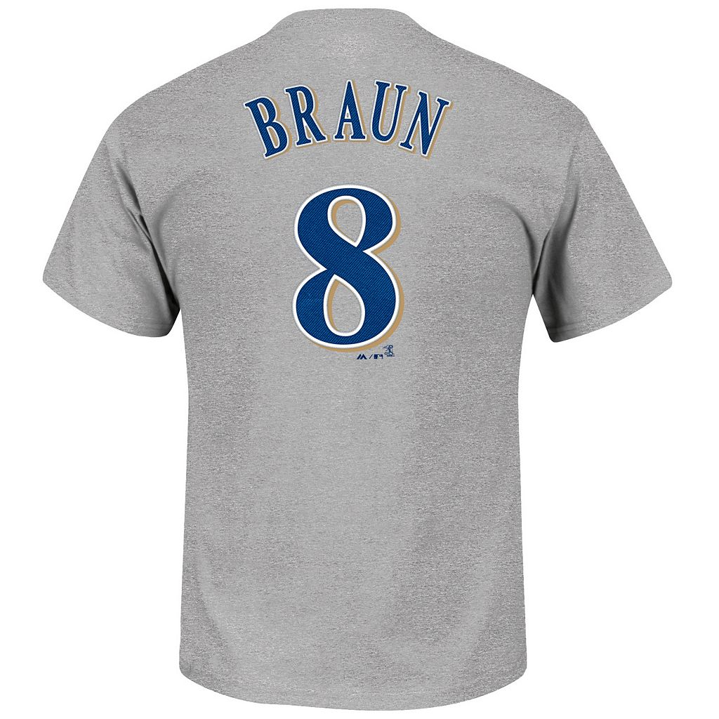 Men's Majestic Milwaukee Brewers Ryan Braun Player Name and Number Tee