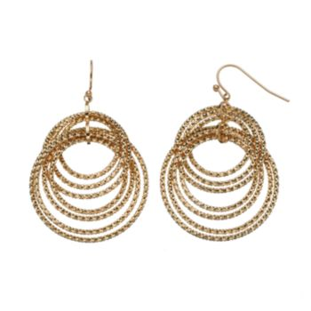 Textured Hoop Drop Earrings
