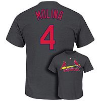 Men's Majestic St. Louis Cardinals Yadier Molina Player Name and Number Tee
