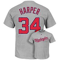 Men's Majestic Washington Nationals Bryce Harper Player Name and Number Tee