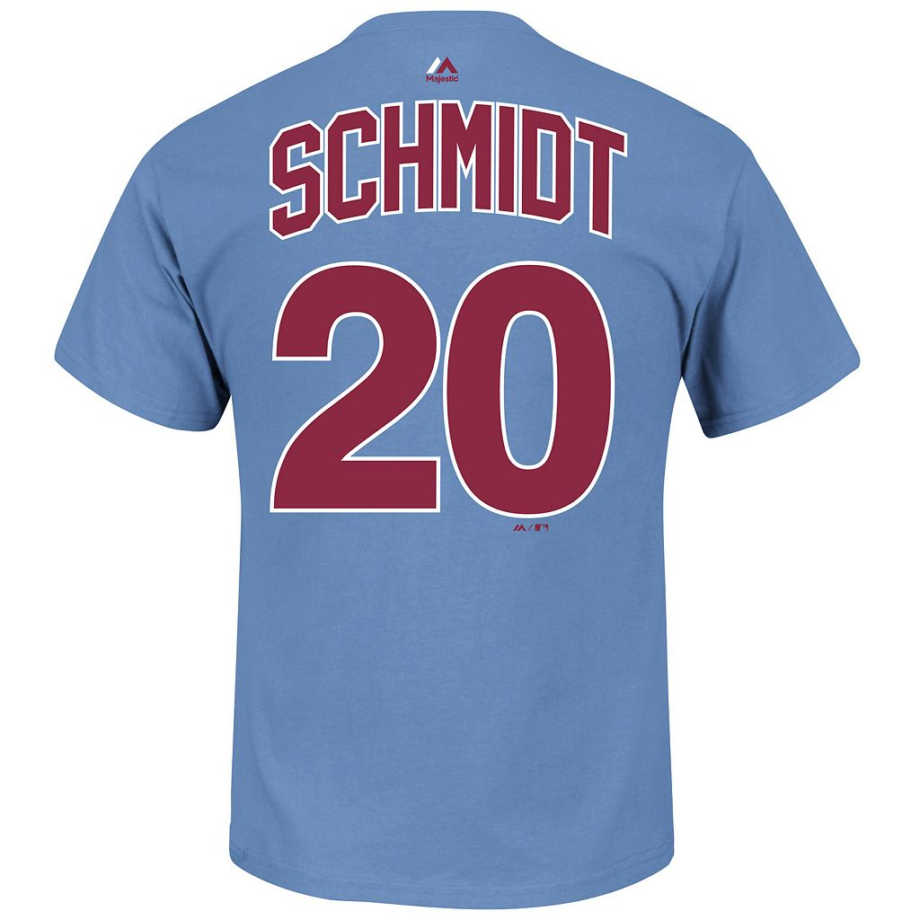Men's Majestic Philadelphia Phillies Mike Schmidt Cooperstown Collection Player Name and Number Tee