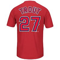 Men's Majestic Los Angeles Angels of Anaheim Mike Trout Player Name and Number Synthetic Tee