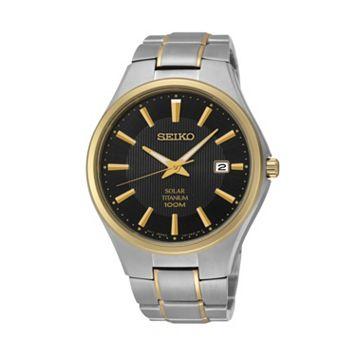 Seiko Men's Two Tone Titanium Solar Watch - SNE382