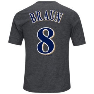 Men's Majestic Milwaukee Brewers Ryan Braun Player Name and Number Synthetic Tee