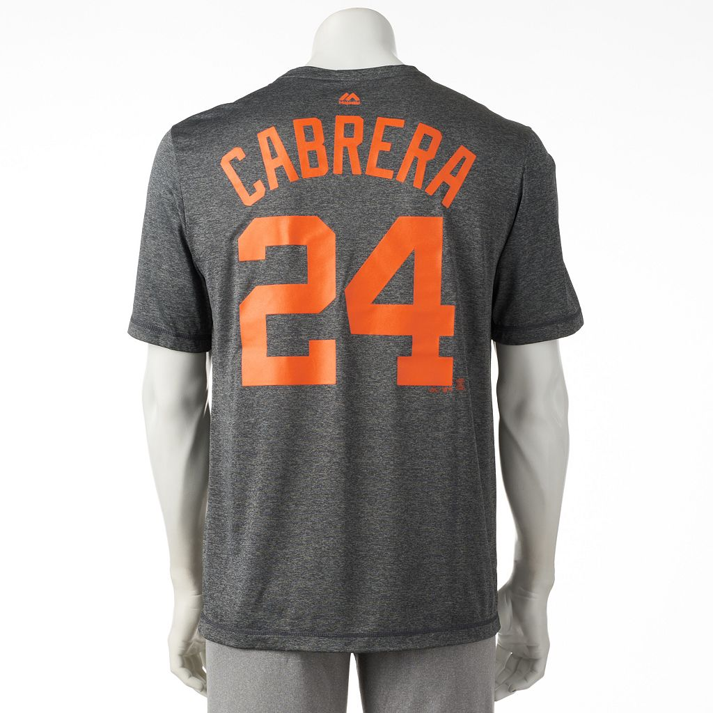 Men's Majestic Detroit Tigers Miguel Cabrera Player Name and Number Synthetic Tee