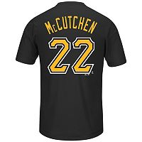 Men's Majestic Pittsburgh Pirates Andrew McCutchen Player Name and Number Synthetic Tee