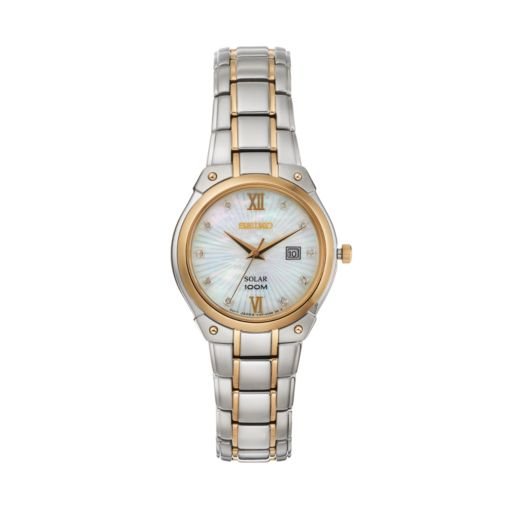 Seiko Women's Two Tone Stainless Steel Solar Watch - SUT214