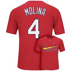 Men's Majestic St. Louis Cardinals Yadier Molina Player Name and Number Synthetic Tee