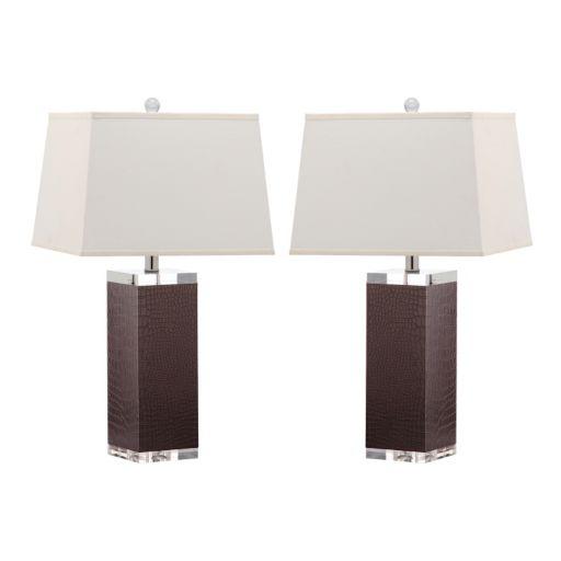 Safavieh 2-piece Deco Faux Leather Table Lamp Set