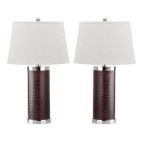 Safavieh 2-piece Faux Leather Column Table Lamp Set