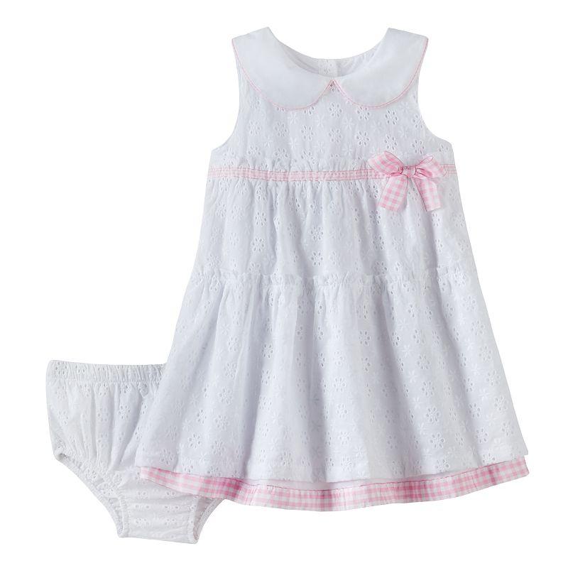 Quiltex Gingham Eyelet Dress - Baby Girl
