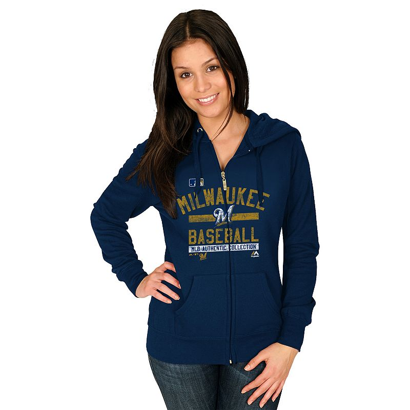 Majestic Milwaukee Brewers Authentic Collection Full-Zip Fleece Hoodie - Women's
