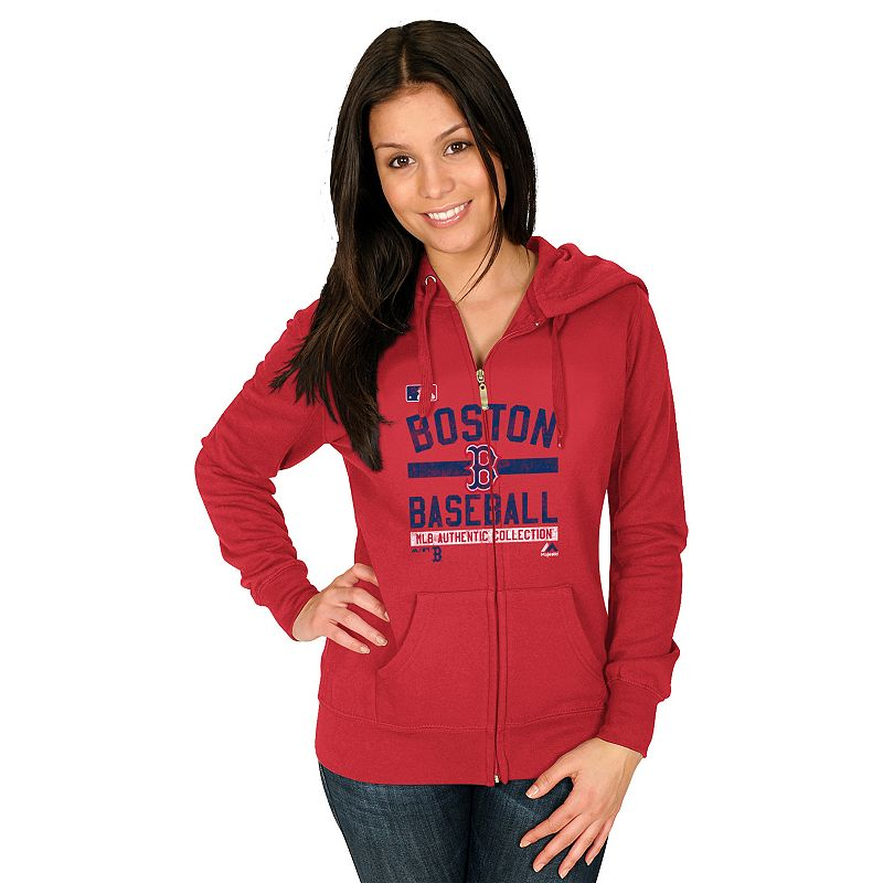 Majestic Boston Red Sox Authentic Collection Full-Zip Fleece Hoodie - Women's