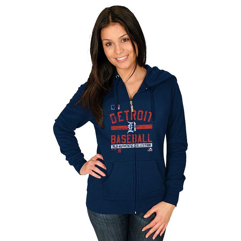 Majestic Detroit Tigers Authentic Collection Full-Zip Fleece Hoodie - Women's