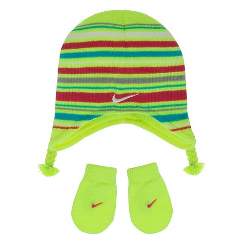 ad1fad8fafb09 Nike Striped Beanie Hat   Mittens Set - Baby Girl