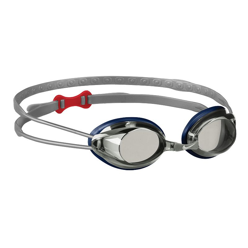 Nike Remora Mirror Goggles, Silver Leave the other swimmers in your wake with these high-tech swim goggles from Nike. Anti-fog lenses Silicone hydroflow gasket Metallic coating UV protection FIT & Sizing Easily-adjustable silicone double head strap Adjustable nose bridge Size: One Size. Color: Silver. Gender: Male. Age Group: Adult. Pattern: Solid.