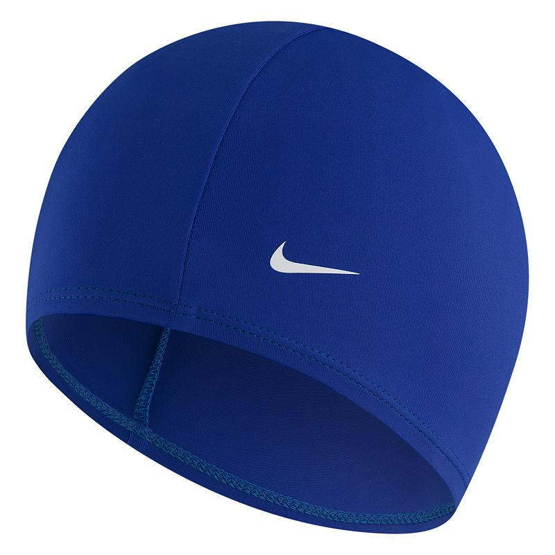 Nike Swim Cap, Blue Set a personal best time with this Nike swim cap. Stretches for snug fit FIT & Sizing One size fits most Fabric & Care Polyester, spandex Size: Onesize. Color: Blue. Gender: Male. Material: Nylon Spandex.