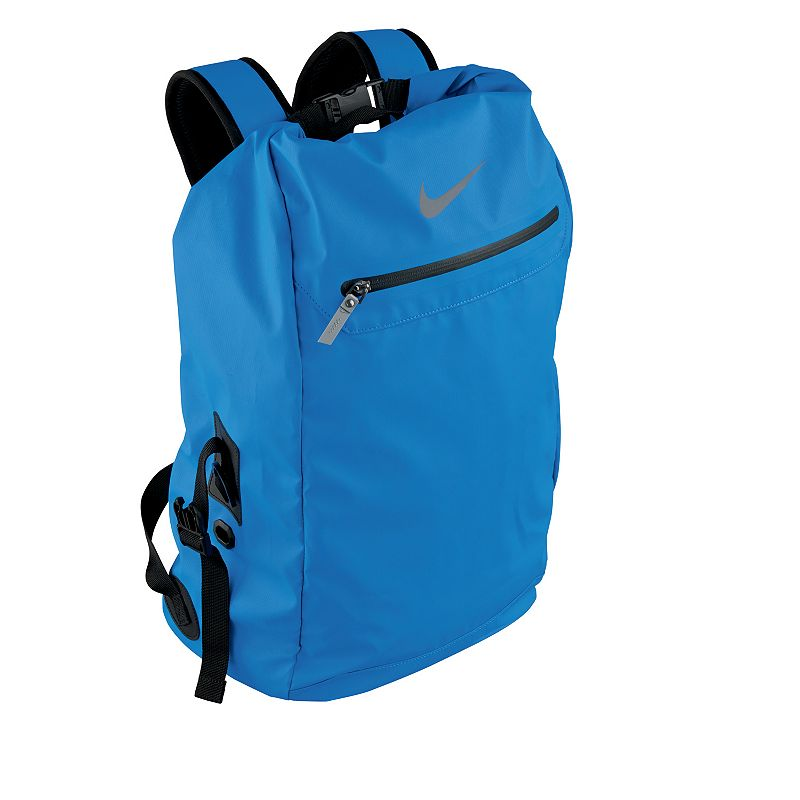 Nike Swimmer's Backpack, Light Blue Thanks to its lightweight design and ample storage space, this Nike swimmer's backpack keeps you organized on the way to the pool. Large main compartment with folding closure Durable water-resistant exterior 32-liter storage capacity Detachable mesh bags Engineered ventilation for quick drying and odor control Large front panel allows customization Size: Onesize. Color: Light Blue. Gender: Male. Age Group: Adult. Pattern: Solid. Material: Fabric.