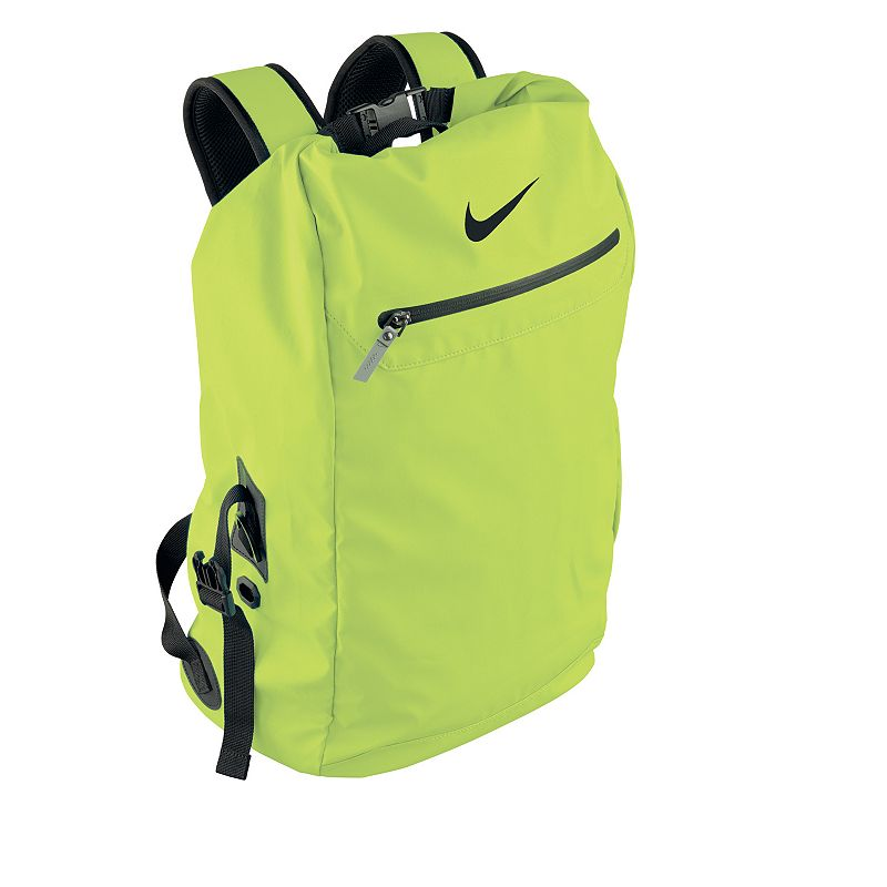 Nike Swimmer's Backpack, Brt Yellow Thanks to its lightweight design and ample storage space, this Nike swimmer's backpack keeps you organized on the way to the pool. Large main compartment with folding closure Durable water-resistant exterior 32-liter storage capacity Detachable mesh bags Engineered ventilation for quick drying and odor control Large front panel allows customization Size: Onesize. Color: Brt Yellow. Gender: Male. Age Group: Adult. Pattern: Solid. Material: Fabric.