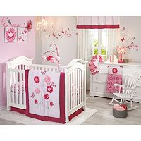 NoJo Butterfly Bouquet 4-pc. Crib Bedding Set