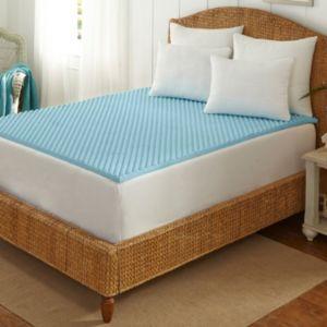 Tempure-Rest Cool-Blue 1 1\/2-in. Memory Foam Mattress Topper