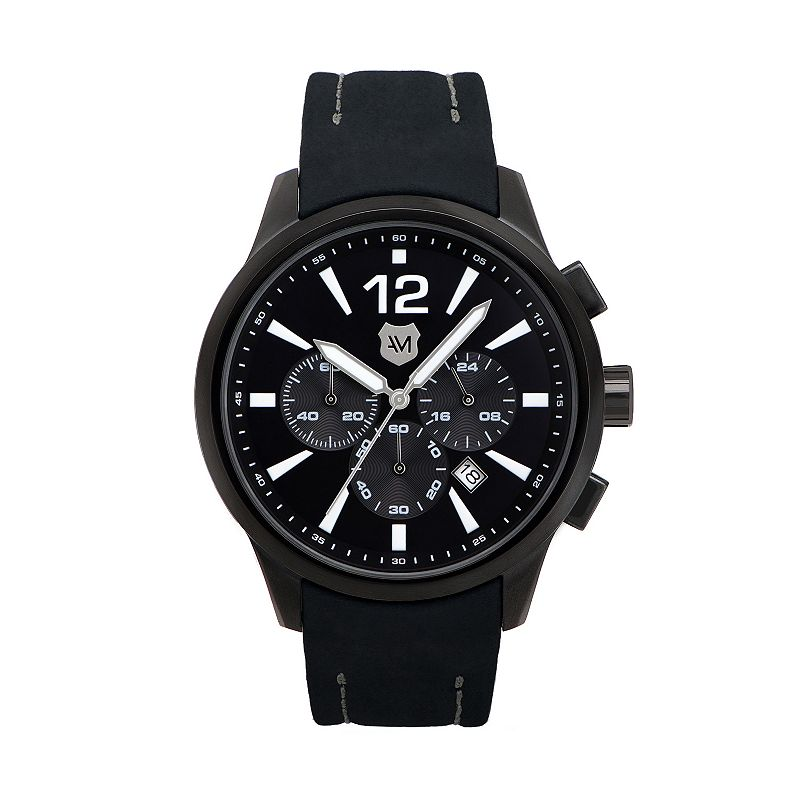 Andrew Marc Men's Club Varsity Leather Chronograph Watch