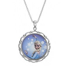 Disney's Frozen Elsa Silver-Plated 'Follow Your Heart' Pendant Necklace
