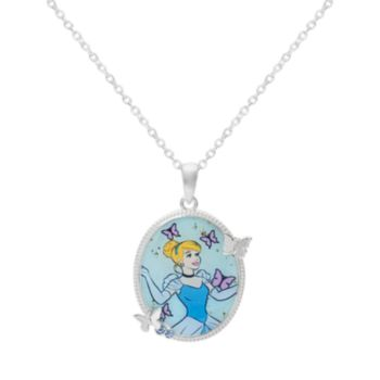 "Disney's Cinderella Crystal Silver-Plated ""The Greatest Love Story Ever Told"" Pendant Necklace"