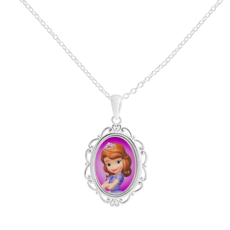 Disney s sofia the first silver plated pendant necklace