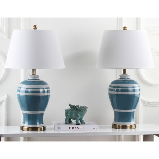 Safavieh 2-piece Pottery Stripe Table Lamp Set