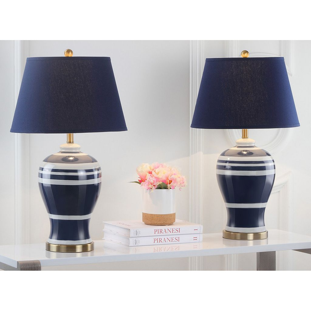 Safavieh 2-piece Pottery Stripe Table Lamp Set