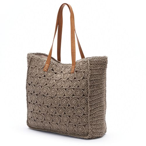 Croft & Barrow® Medallion Straw Tote