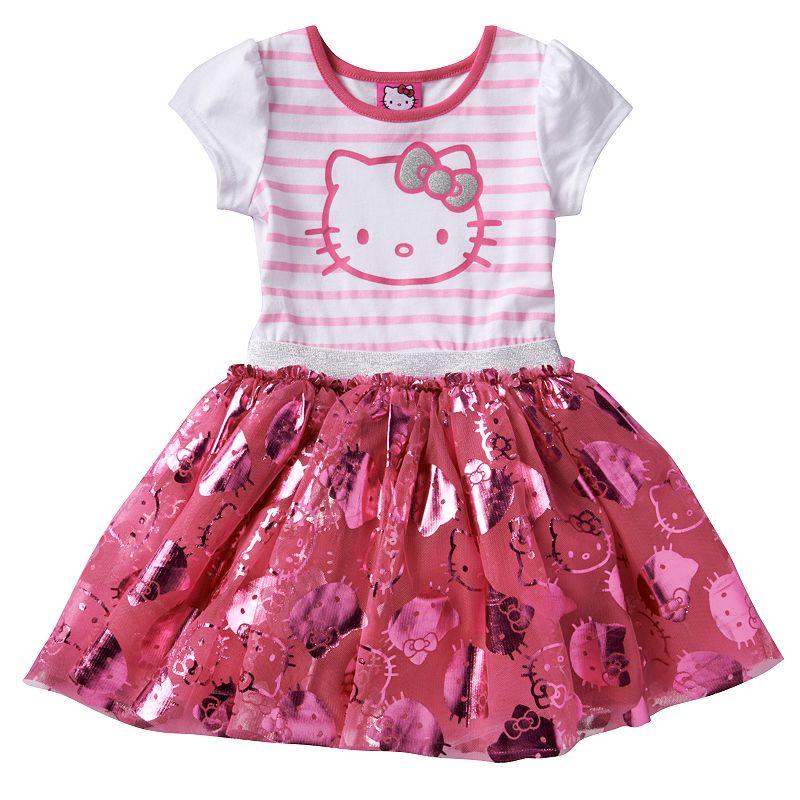 Hello Kitty Stripe Foil Dress - Toddler Girl